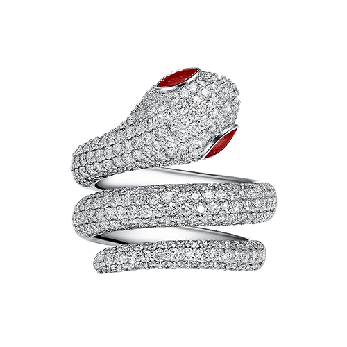 Snake Ring Ruby Diamond